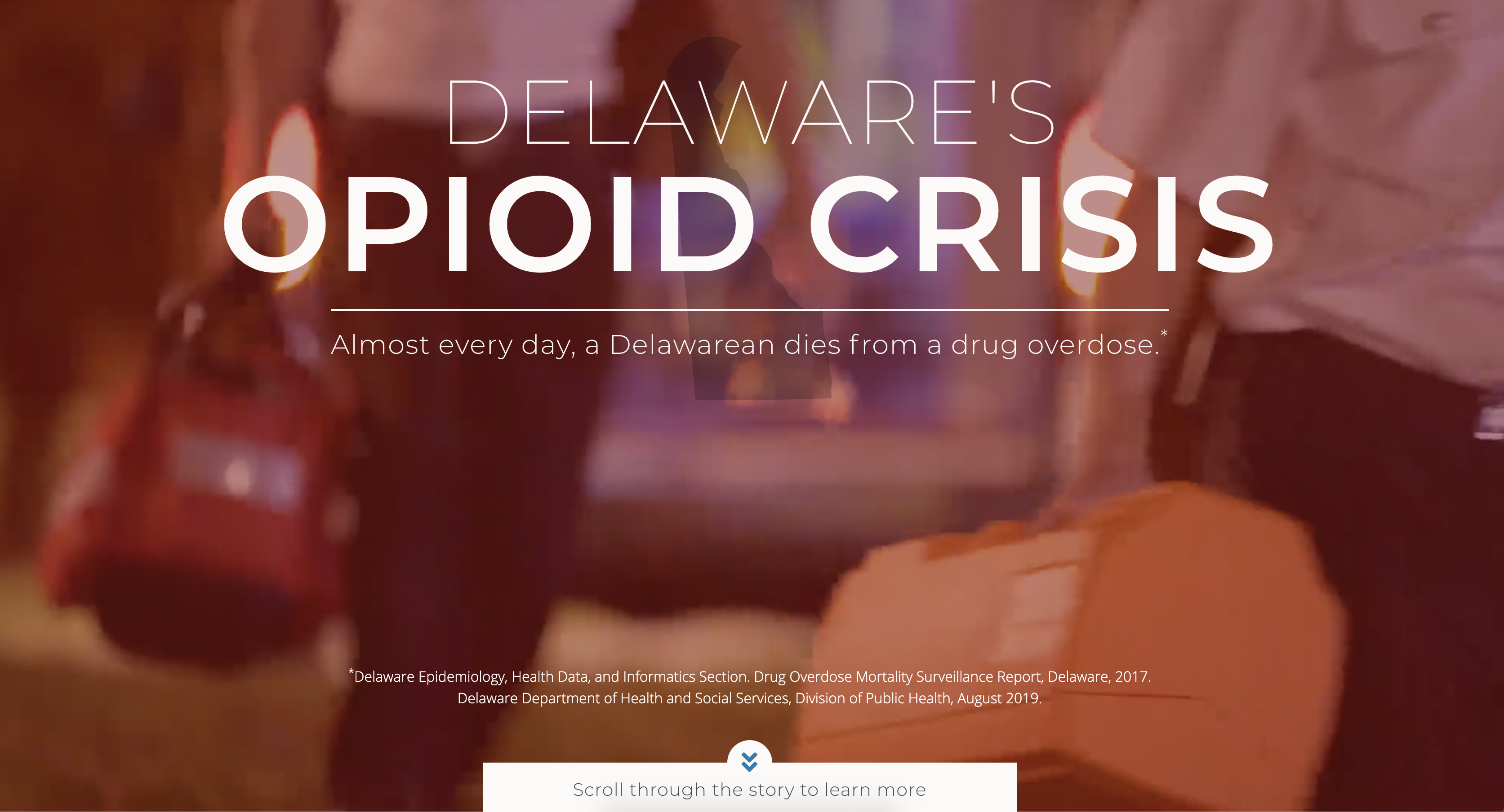 screenshot of Delaware Opioid Crisis page with blurred background video of E.M.T.s running to a patient