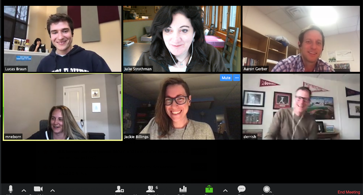 Distributed Laughter: Six Green River teammates on a video call are each laughing in their video rectangles