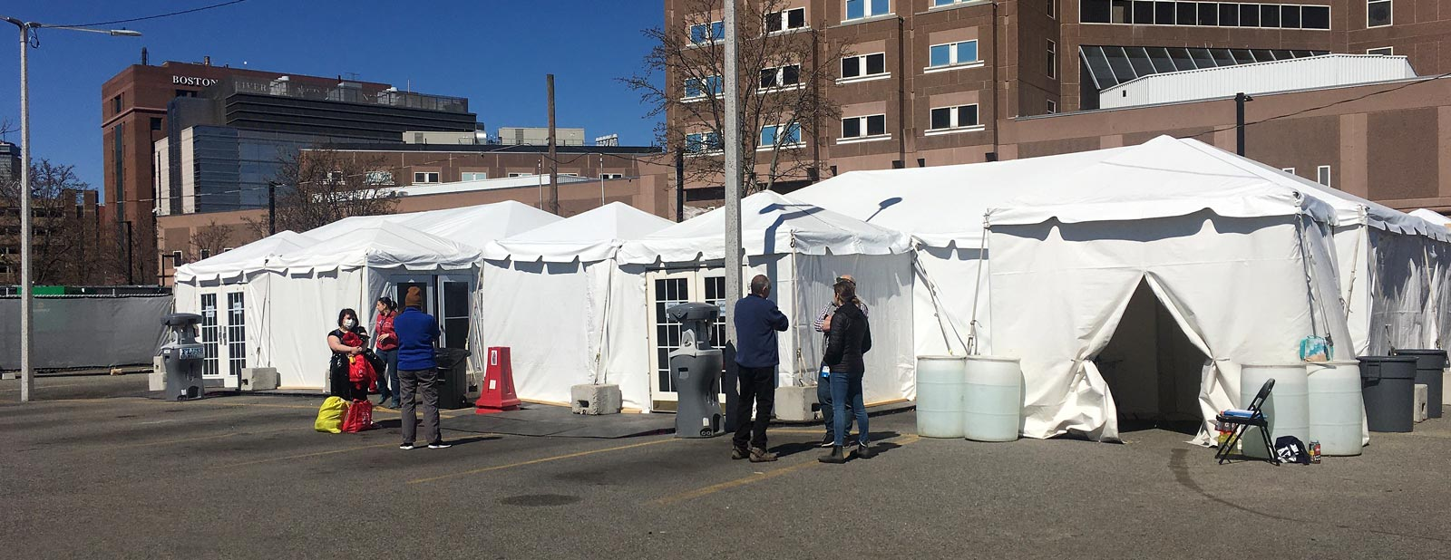Testing tents for people experiencing homelessness in Boston, MA.